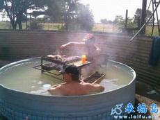 泡个澡,吃个烧烤,多惬意